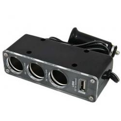 Rozdzielacz do samochodu 3 zapalniczki + USB